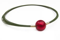 Green-wire-multistrand-necklace-with-red-Murano-glass-clasp.jpg