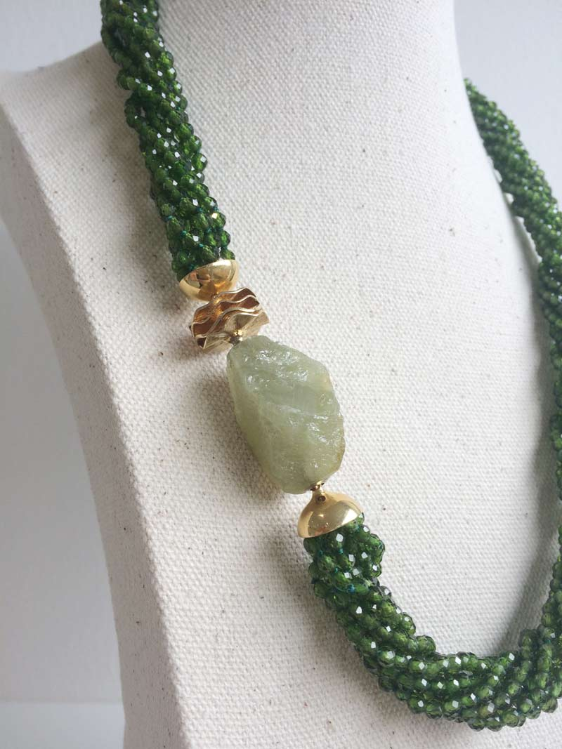 Chrome diopside multistrand necklace with 14mm fluted gold adaptor and interchangeable green garnet clasp