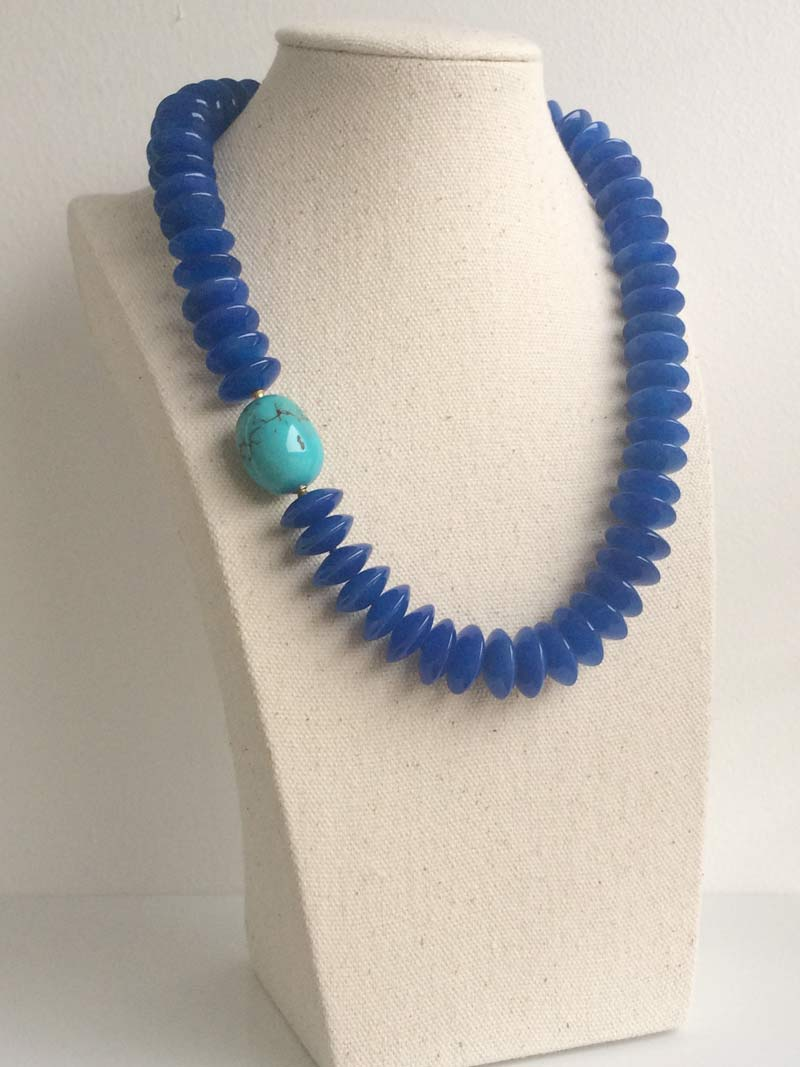 Blue agate rondelle necklace with removable turquoise ovoid clasp