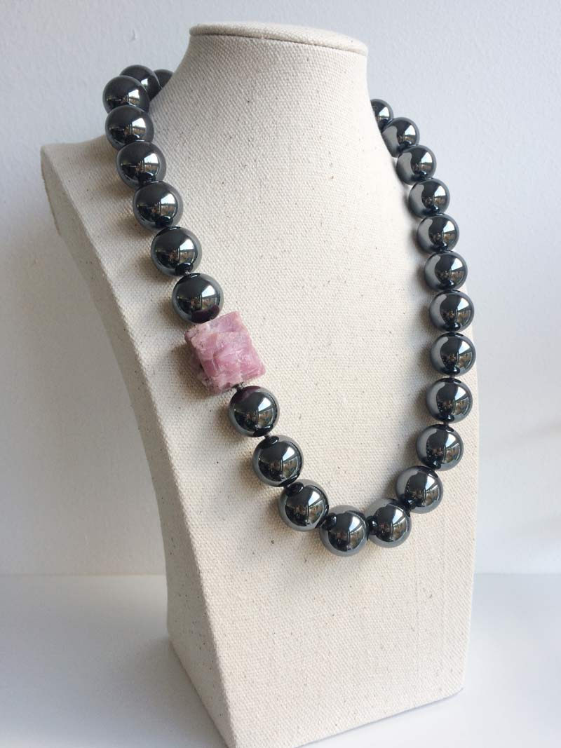 16mm hematite bead necklace with detachable pink tourmaline nugget clasp