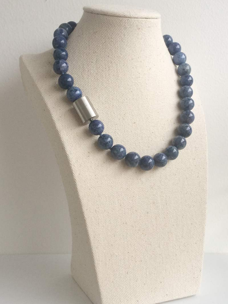 12mm dumortierite bead necklace with detachable large steel cylinder clasp