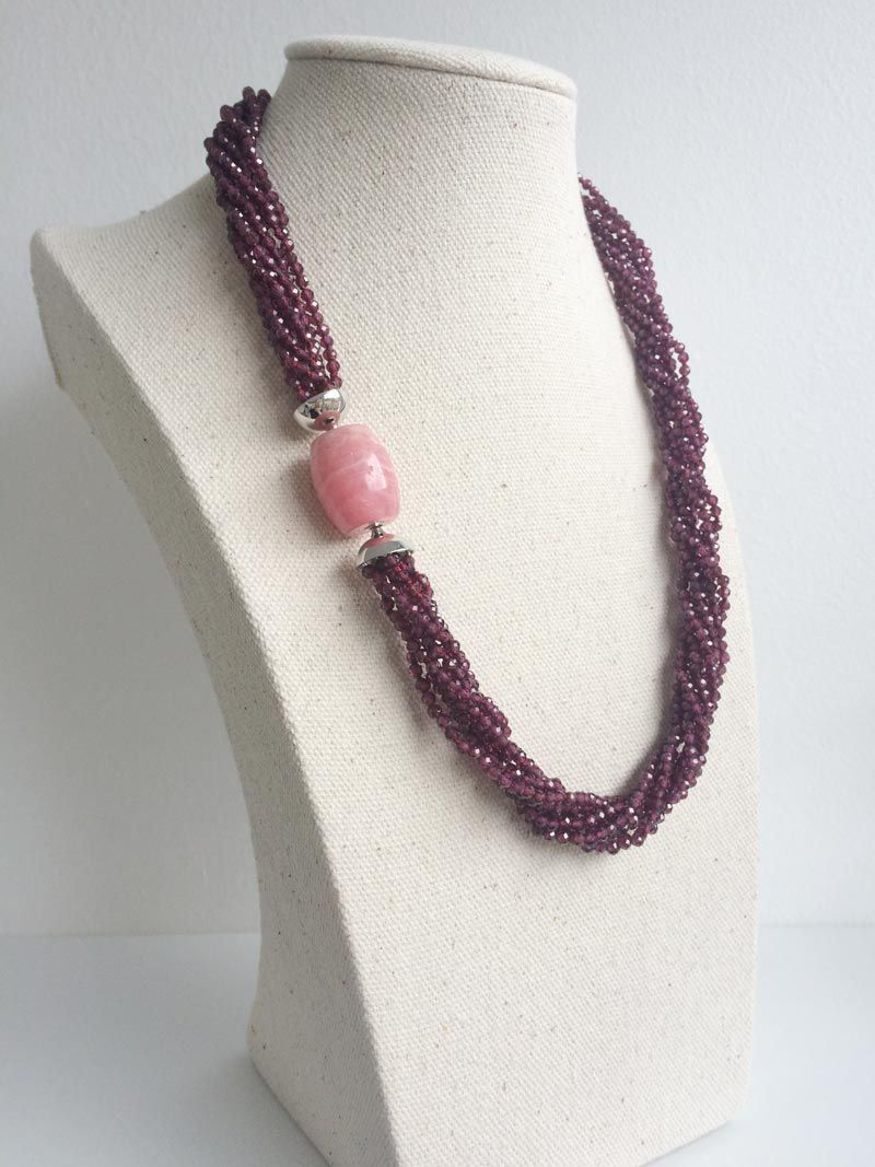 Faceted garnet multistrand necklace with removable rhodochrosite clasp