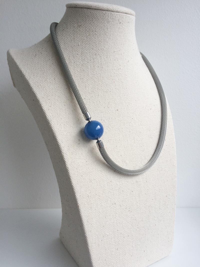 Steel mesh necklace with removable blue agate ball clasp