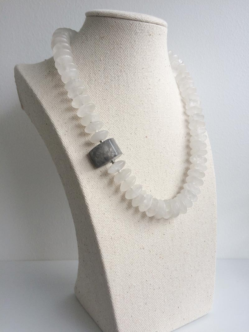 Matte rock crystal rondelle necklace with triangular grey quartz clasp