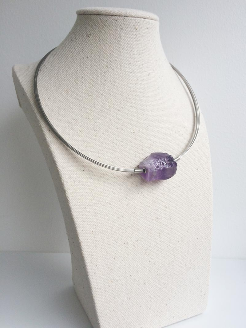 Steel wire multistrand with Amethyst nugget feature clasp