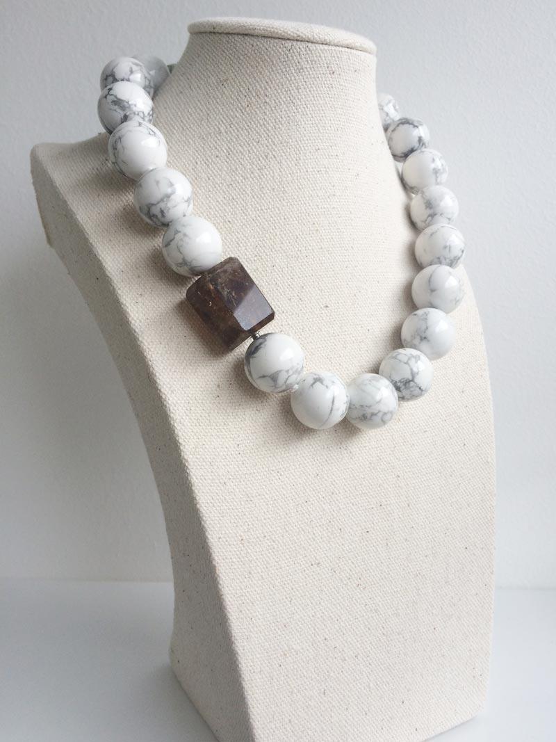 18mm howlite bead necklace with hexagonal smoky quartz feature clasp