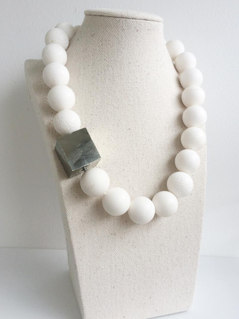20mm white coral bead necklace with large interchangeable pyrite clasp