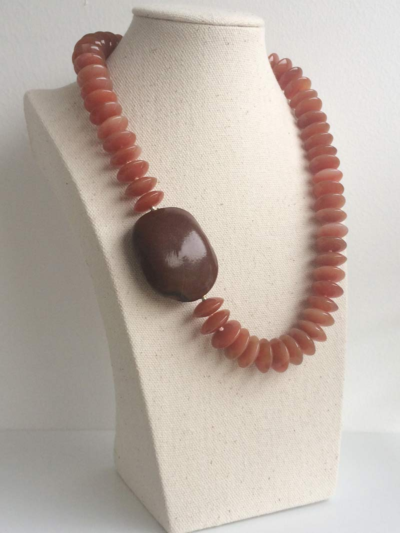 Carnelian rondelle necklace with sea bean clasp