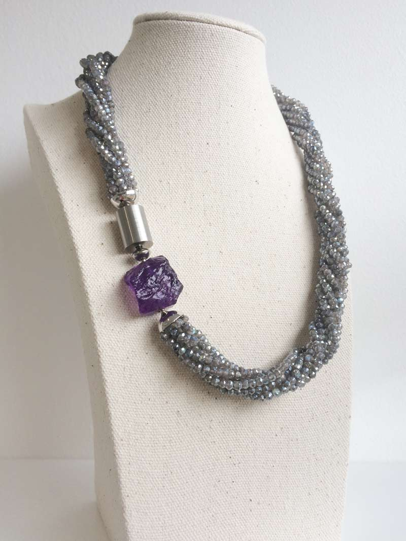 Labradorite multistrand necklace with steel cylinder and amethsyt nugget clasps connected by a steel adaptor
