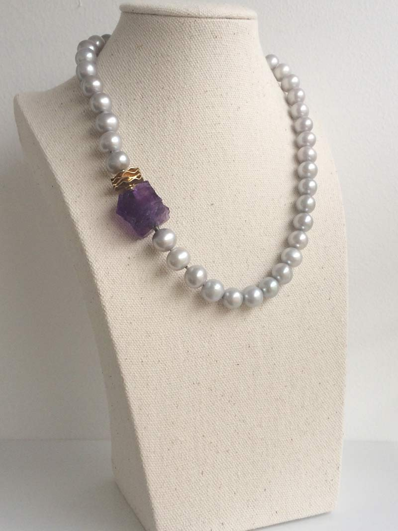 Grey freshwater pearl necklace with interchangeable amethyst nugget clasp and fluted gold adaptor