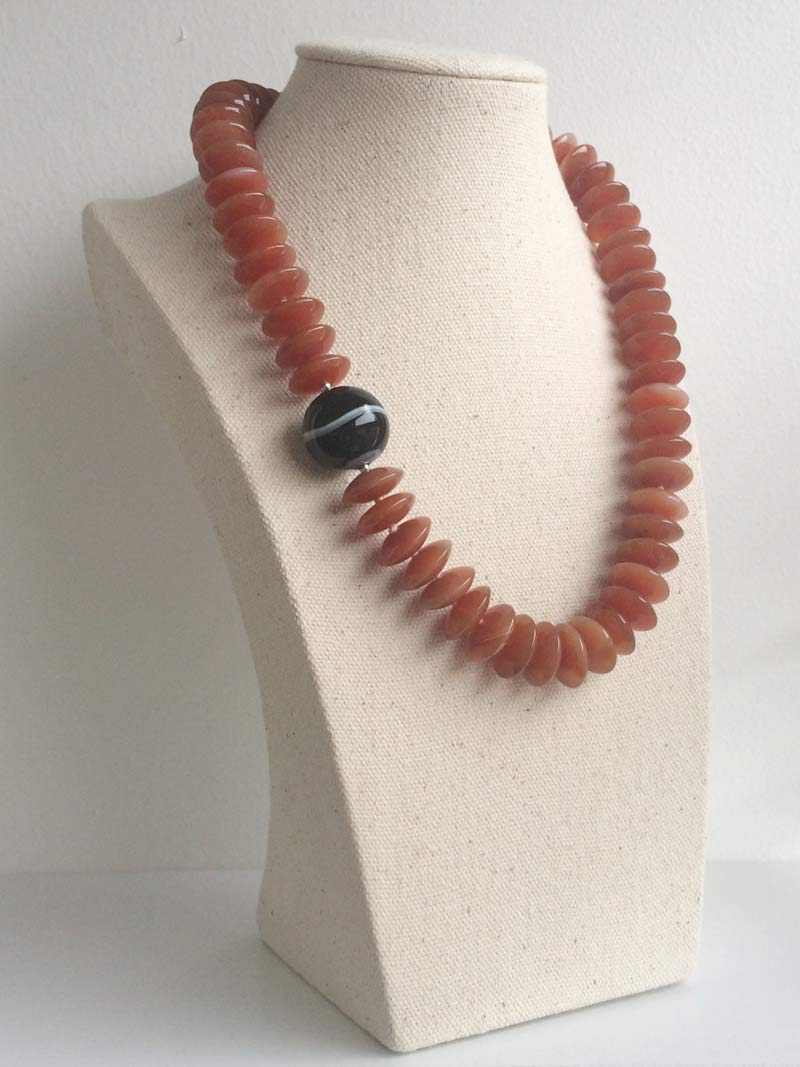 Carnelian rondelle necklace with removable black onyx ball clasp