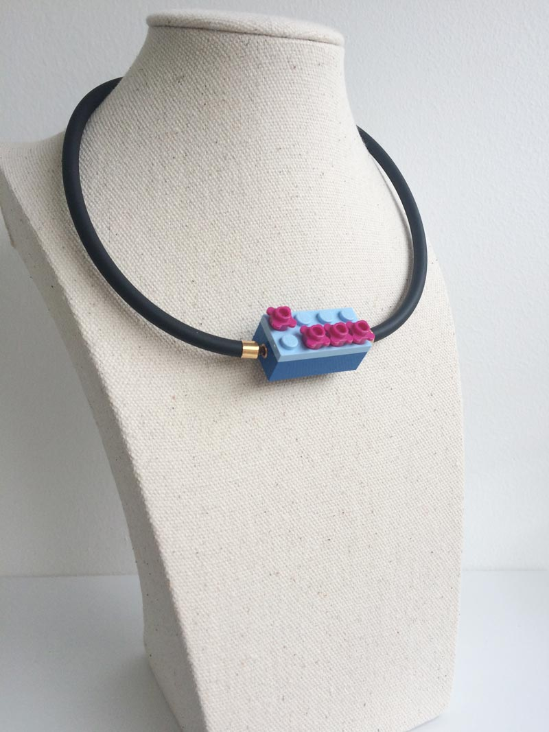 Interchangeable blue lego clasp on black rubber necklace