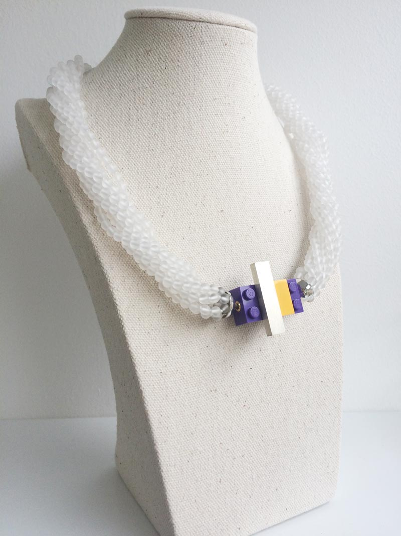 Matte rock crystal multistrand necklace with interchangeable purple lego clasp