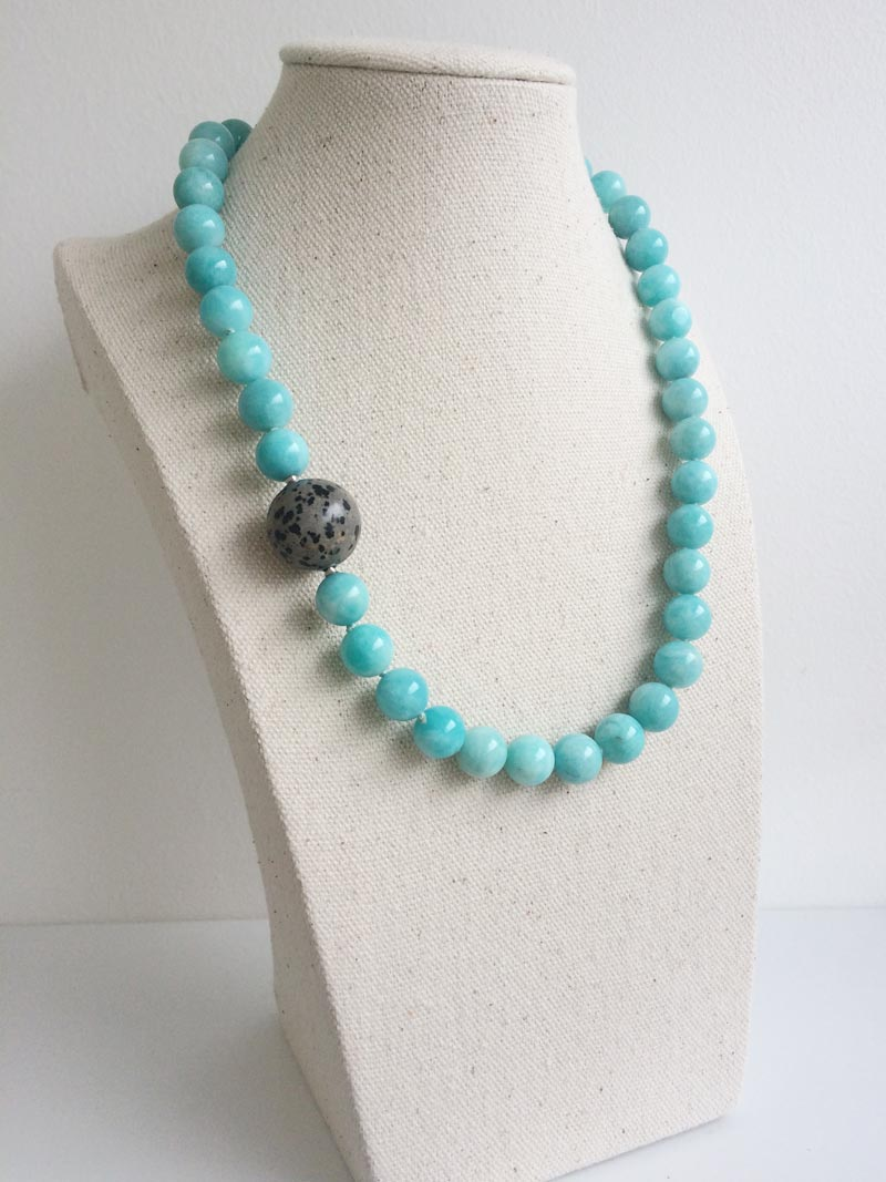 10.5mm amazonite bead necklace with interchangeable Dalmation jasper feature clasp