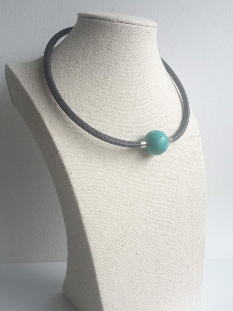 Grey leather necklace with turquoise magnesite ball clasp