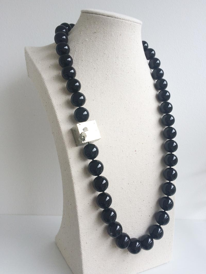 15mm onyx bead strand with pyrite clasp