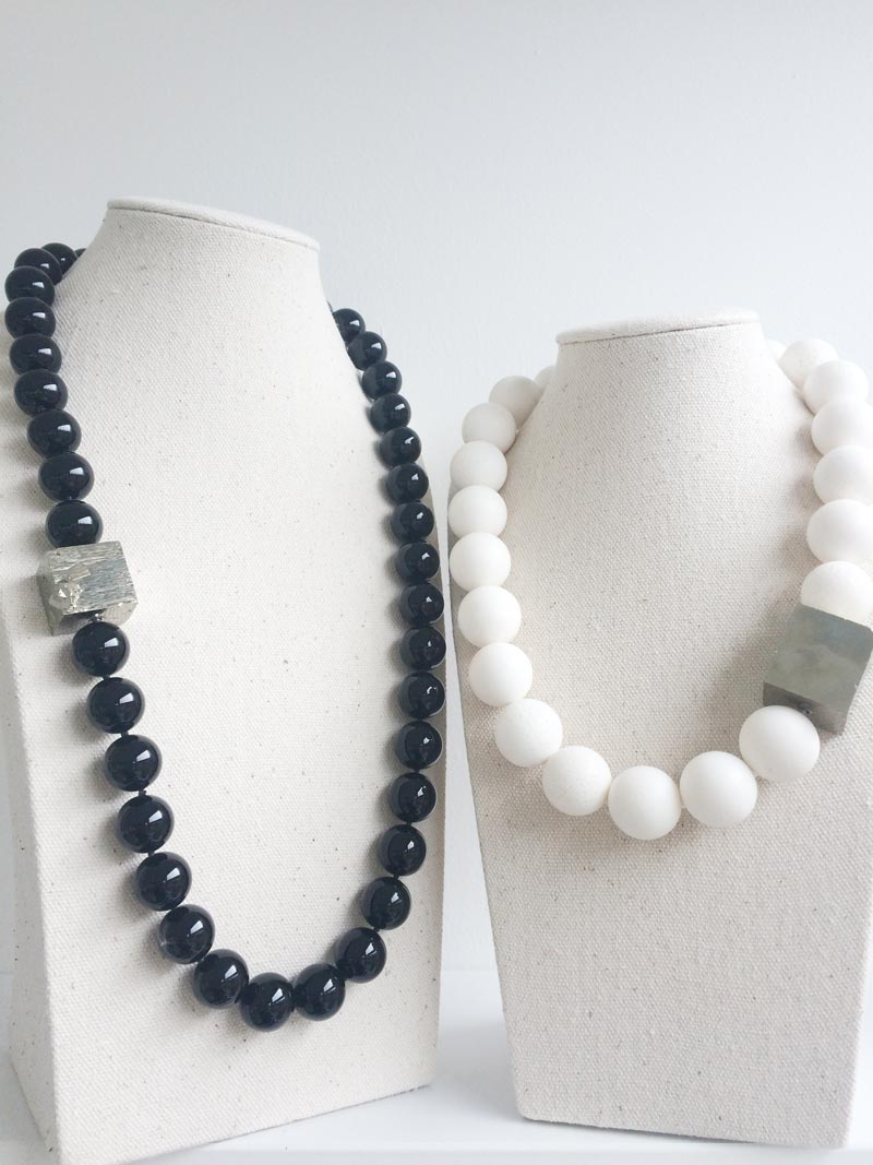 Black onyx and white coral beaded necklaces  with pyrite clasps