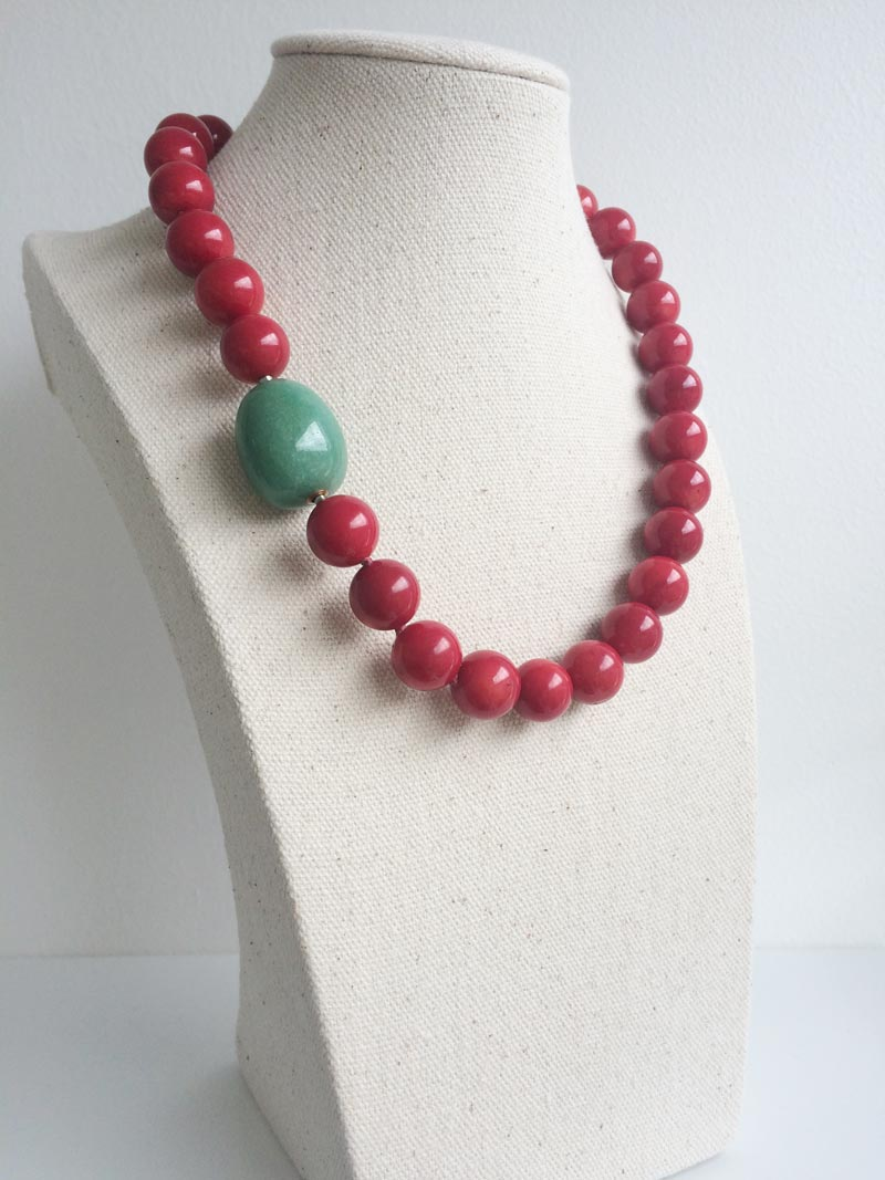 Red coral bead necklace with interchangeble aventurine feature clasp