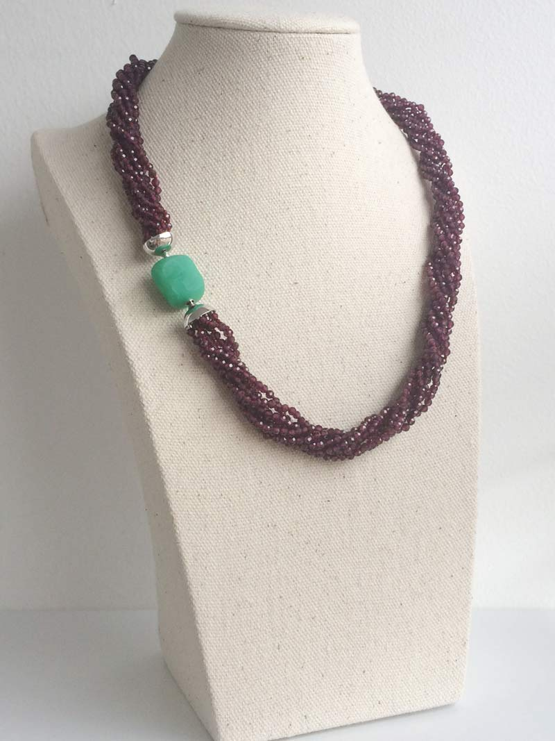 Faceted garnet multistrand necklace with rough chrysoprase nugget clasp