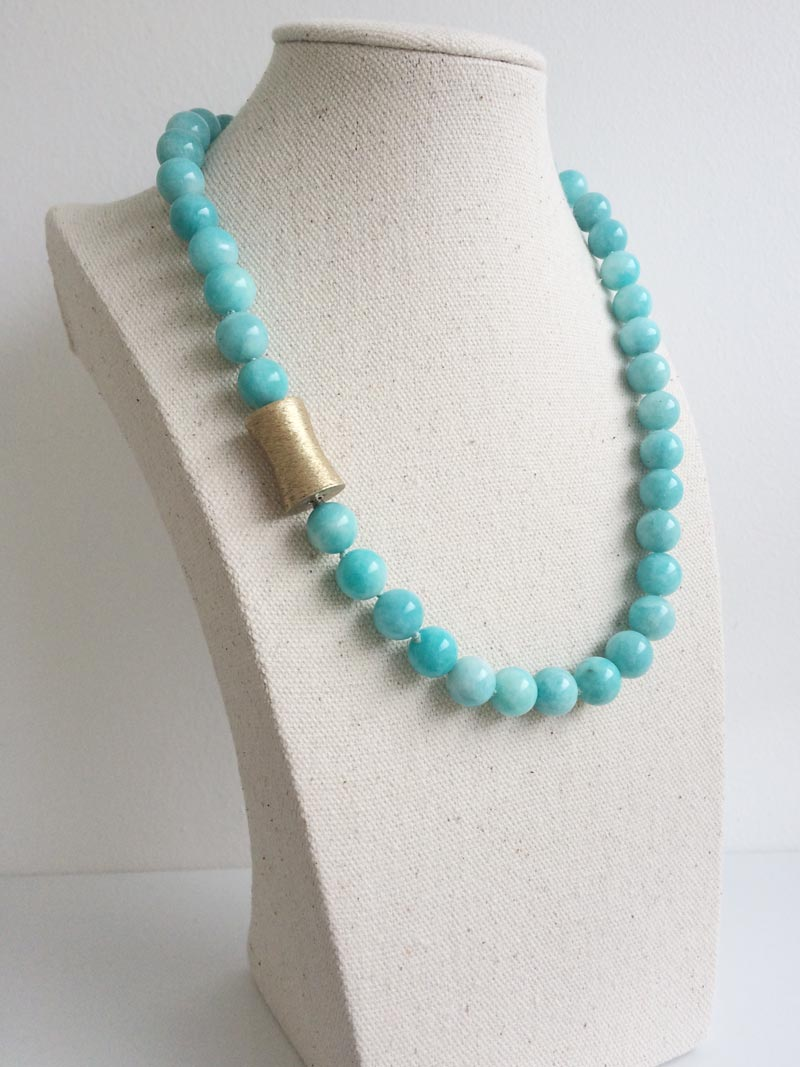 10.5mm round amazonite bead necklace with interchangeable gold feature clasp