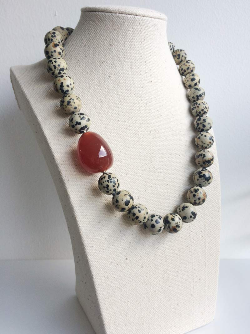 14mm Dalmation jasper necklace with removable carnelian feature clasp