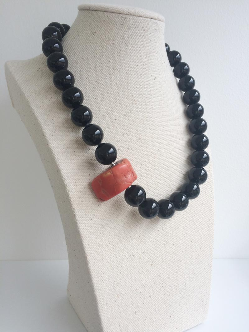 14mm black onyx necklace with red coral feature clasp