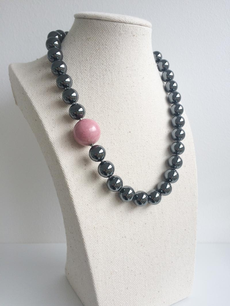 12mm haematite bead necklace with rhodonite feature clasp