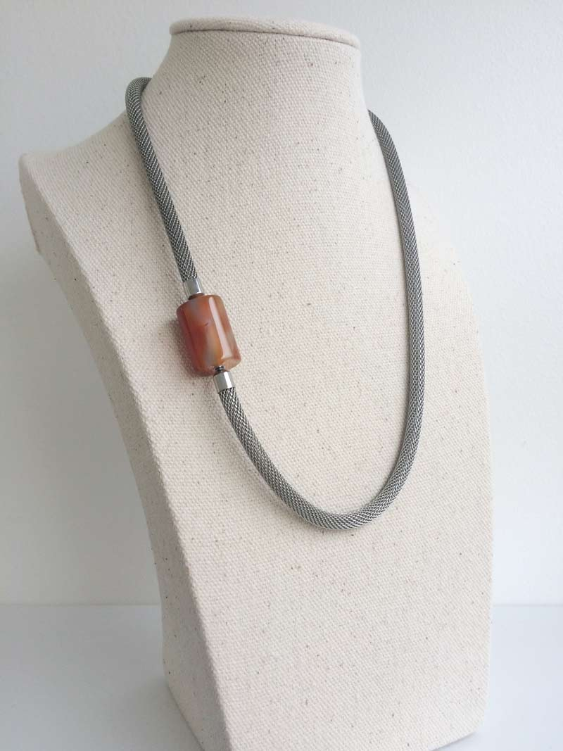 Steel mesh necklet with removable carnelian feature clasp