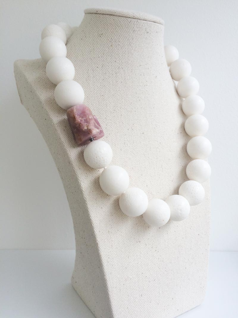 20mm white coral bead strand with rough pink tourmaline feature clasp