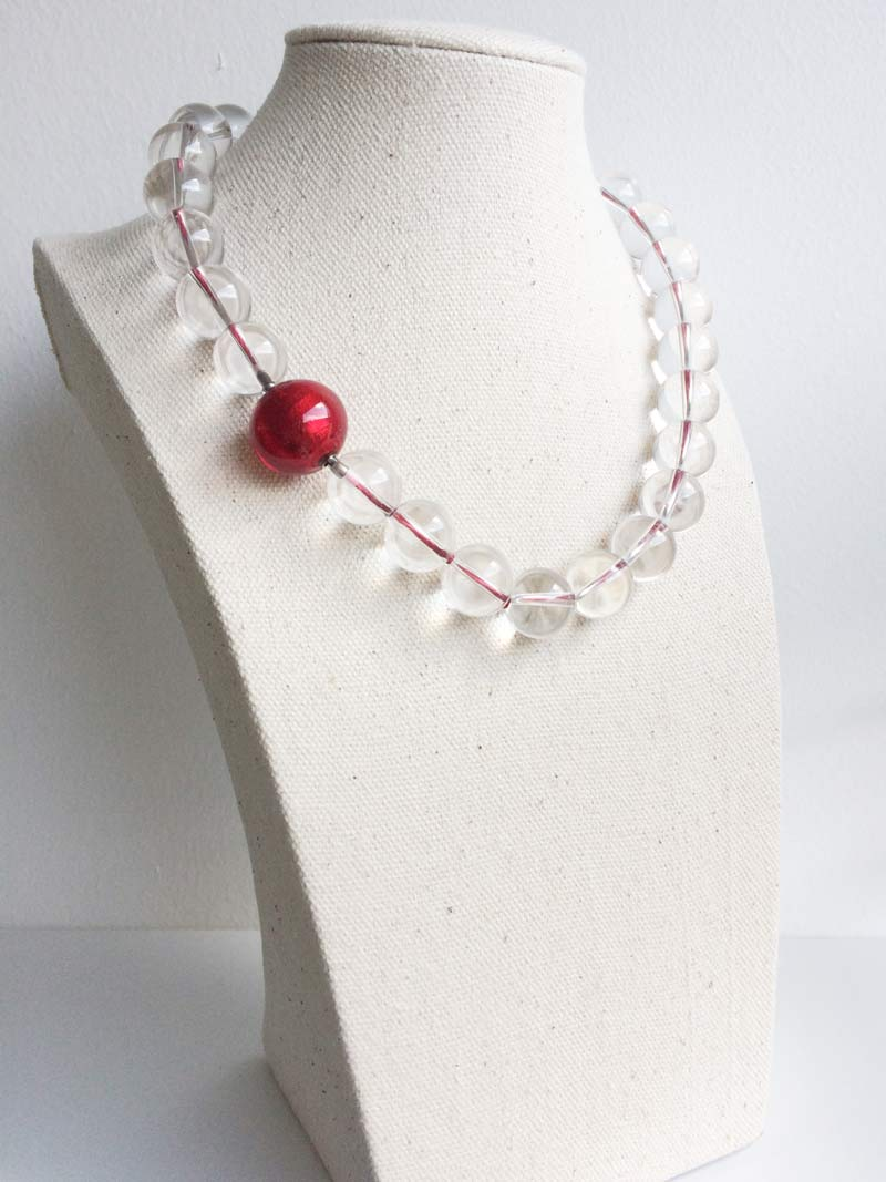Clear quartz bead necklace with removable red Murano glass feature clsp