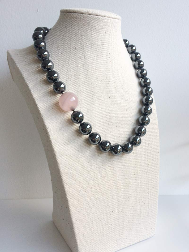 12mm haematite bead necklace with rose quartz feature clasp