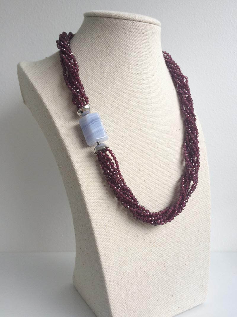 Faceted garnet multistrand necklace with interchangeable chalcedony clasp