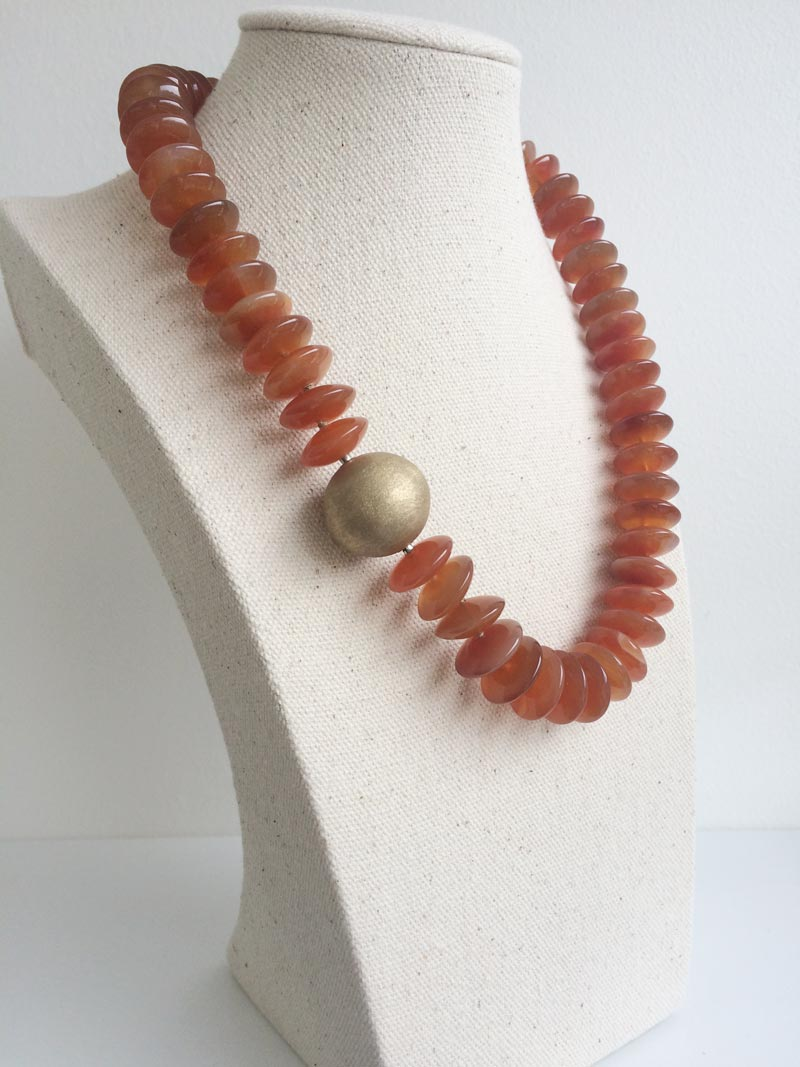 16mm carnelian rondelle necklace with interchangeable gold feature clasp