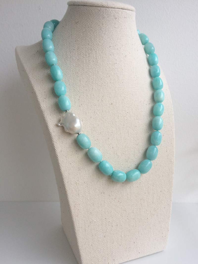 Amazonite olive necklace with interchangeable keshi pearl feature clasp