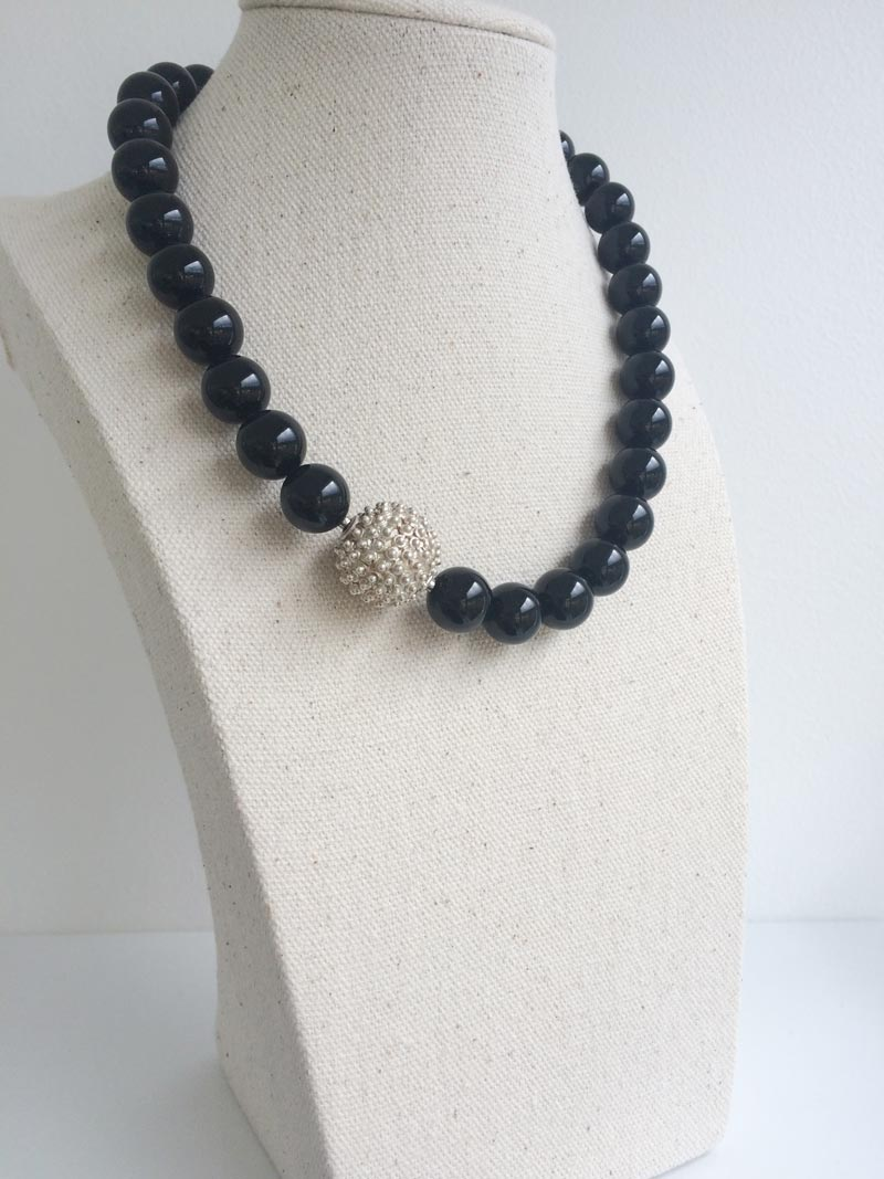 12mm onyx bead necklace with interchangeable silver feature clasp