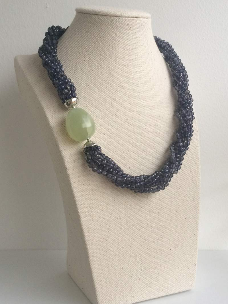 Faceted iolite multistrand necklace with interchangeable green quartz feature clasp