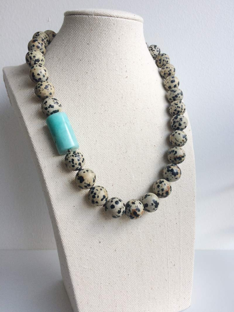 16mm Dalmation jasper necklace with amazonite feature clasp