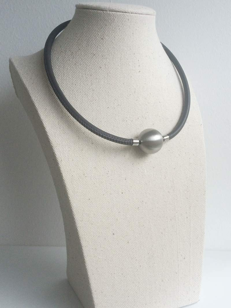 Grey leather necklace with 20mm steel ball clasp
