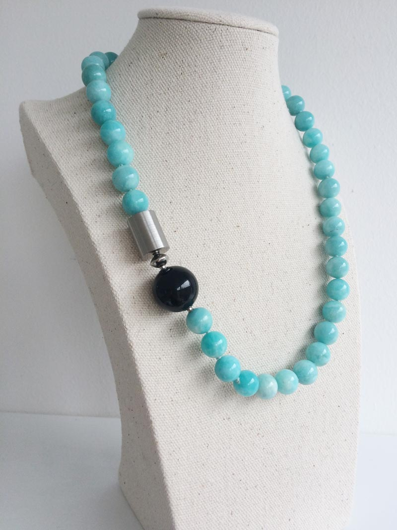 10.5mm amazonite bead necklace with black onyx and steel cylinder clasps