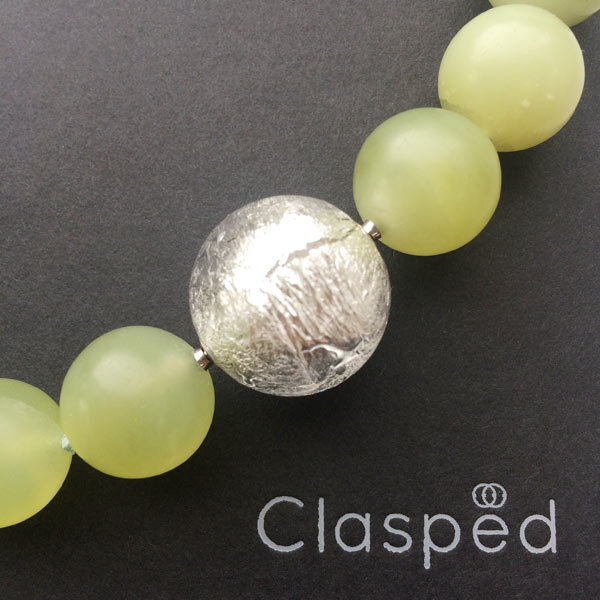 Serpentine bead necklace with interchangeable silver Murano glass ball clasp