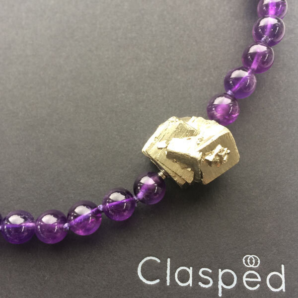 8mm amethyst bead strand with detachable pyrite clasp