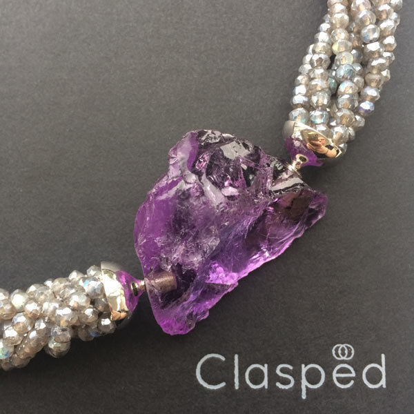 Labradorite multistrand necklace with interchangeable rough amethyst clasp