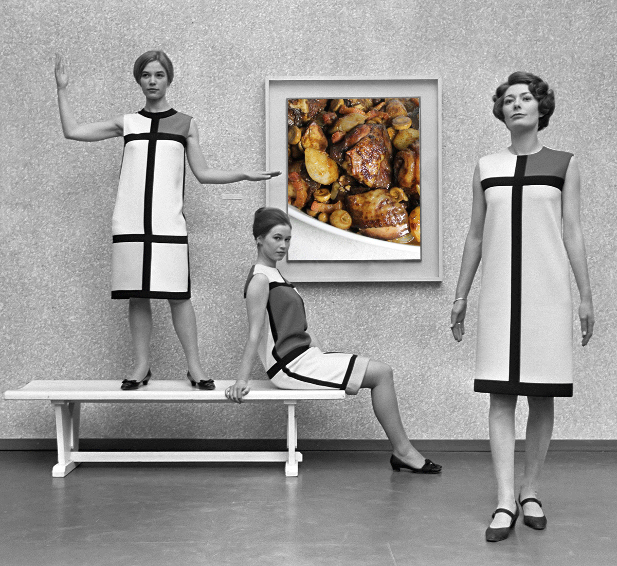 Photomontage: Mondrian dresses by Yves Saint Laurent (1966) / Coq au vin by Alain Ducasse