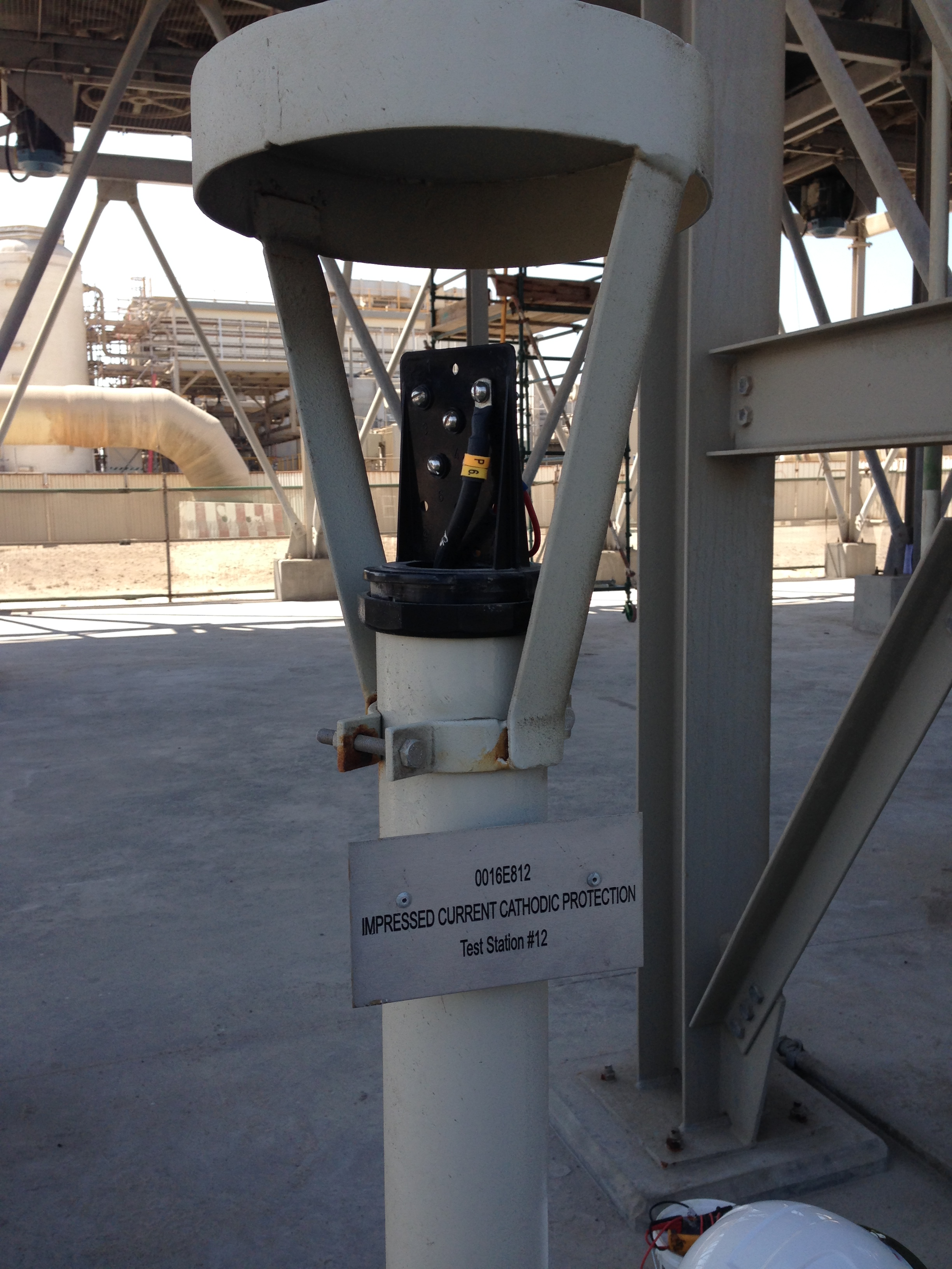 Ducorr installs this cathodic protection test post as part of an impressed current system for plant piping