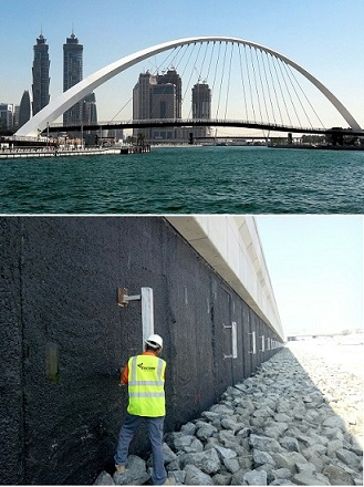 - The Dubai Water Canal is key infrastructure project that involves the construction of water canal that routes just east of Sheikh Zayed Road to the Jumeirah beach. The canal mainly consists of block wall construction. However, in a minor section of the canal, the construction incorporates a reinforced concrete diaphragm wall. The project specification requires that the reinforcing steel of this diaphragm wall be protected from corrosion using cathodic protection designed and installed by DUCORR.