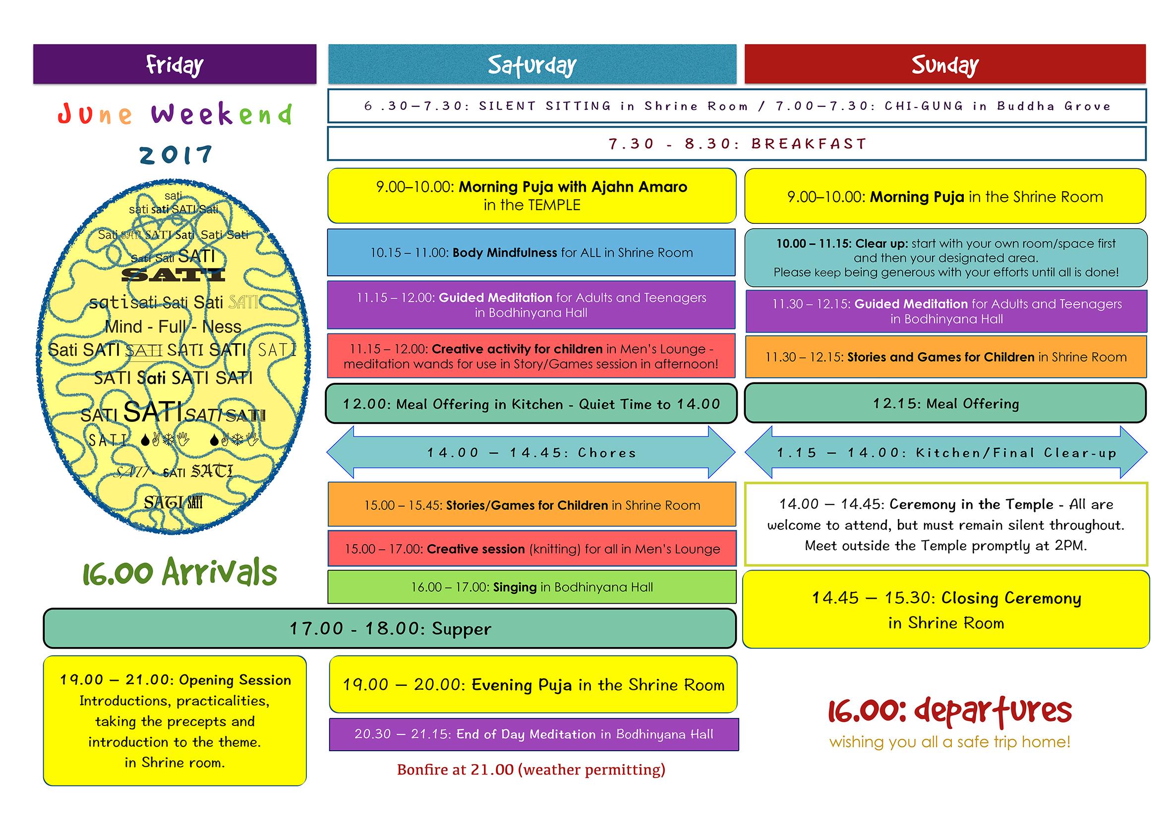 June Weekend 2017 Timetable
