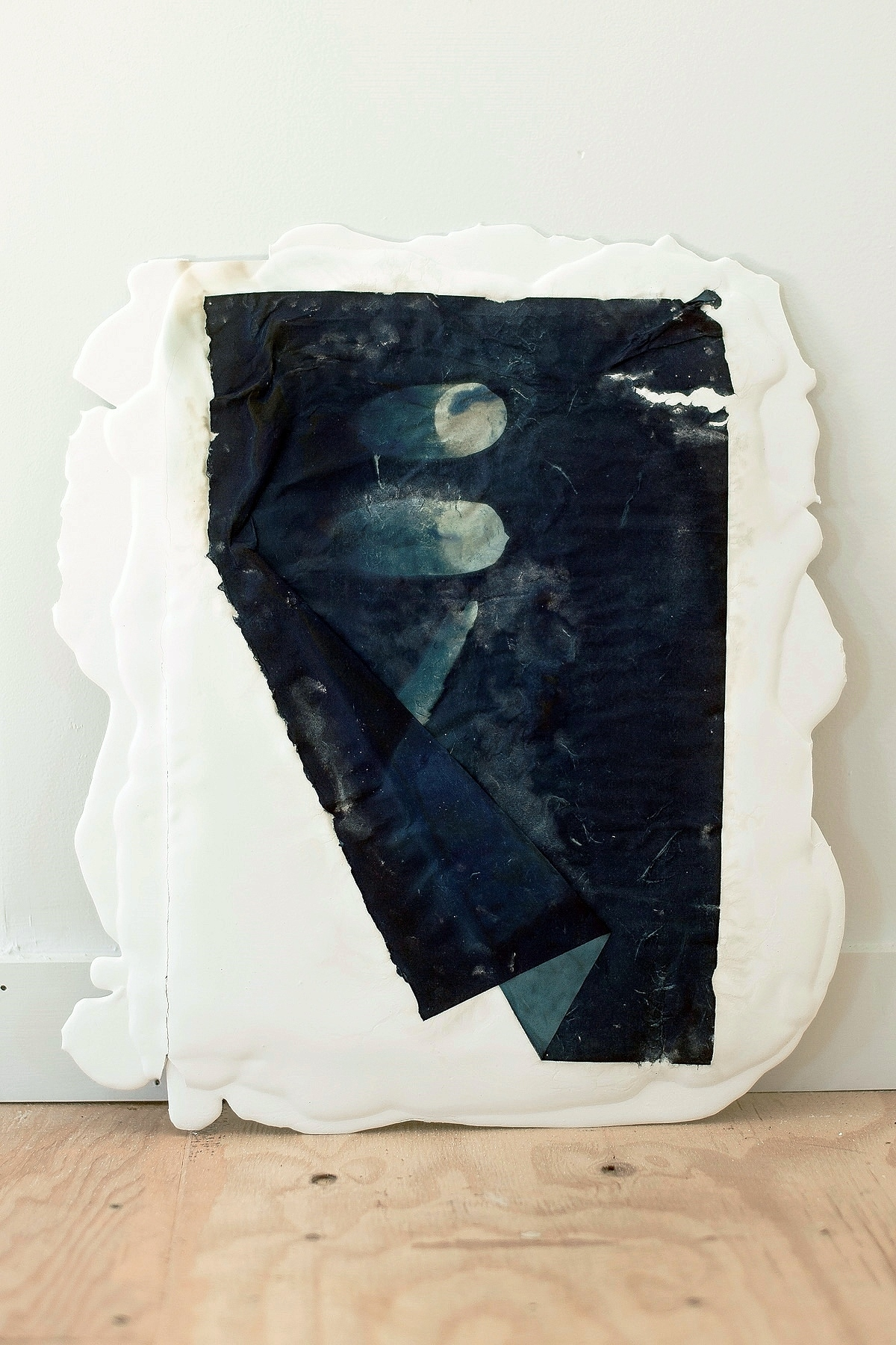 "Bluet V, cyanotype and poured plaster, 16""x20"""