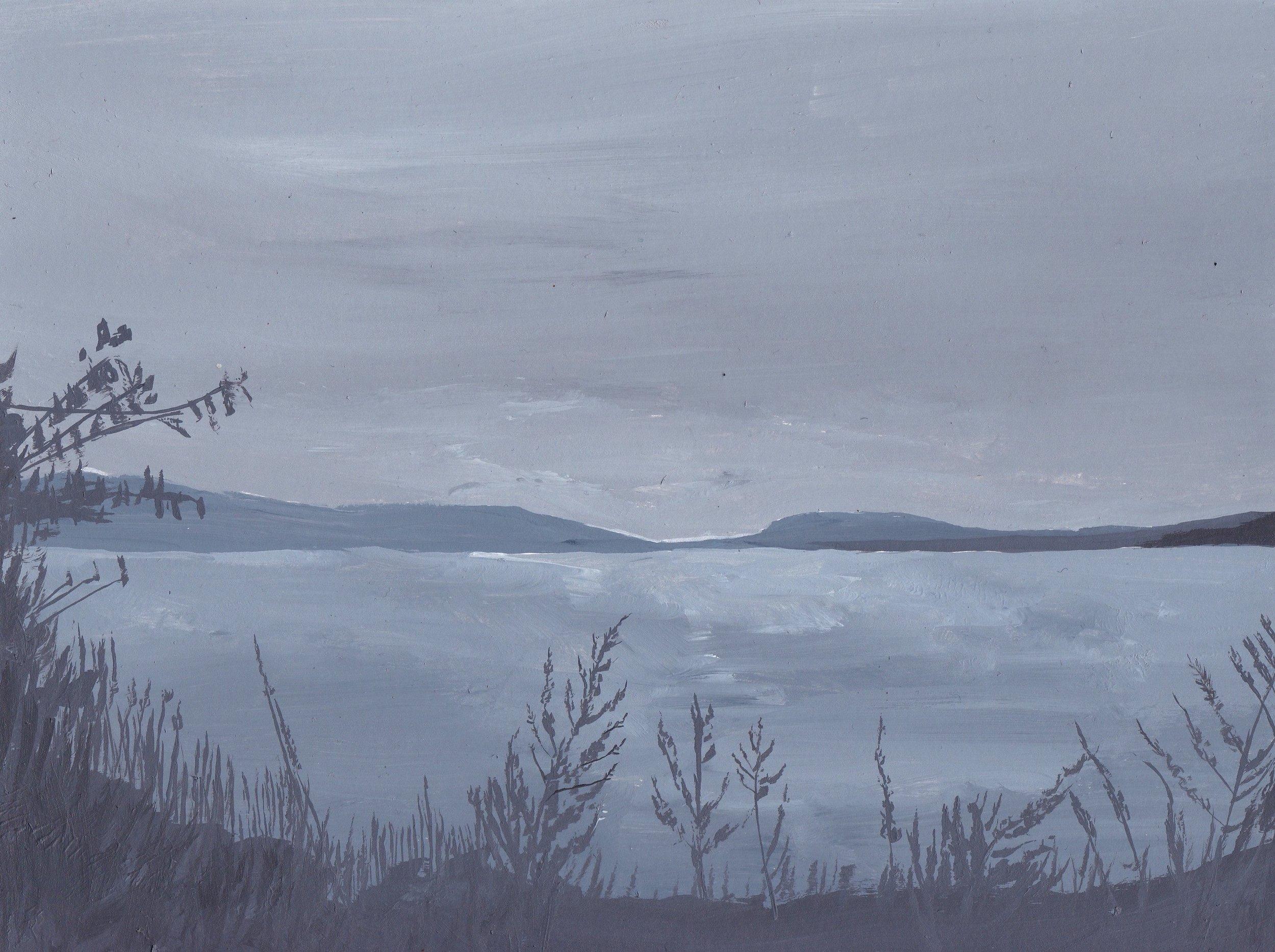 Hudson River at Dusk, acrylic on pape .jpg