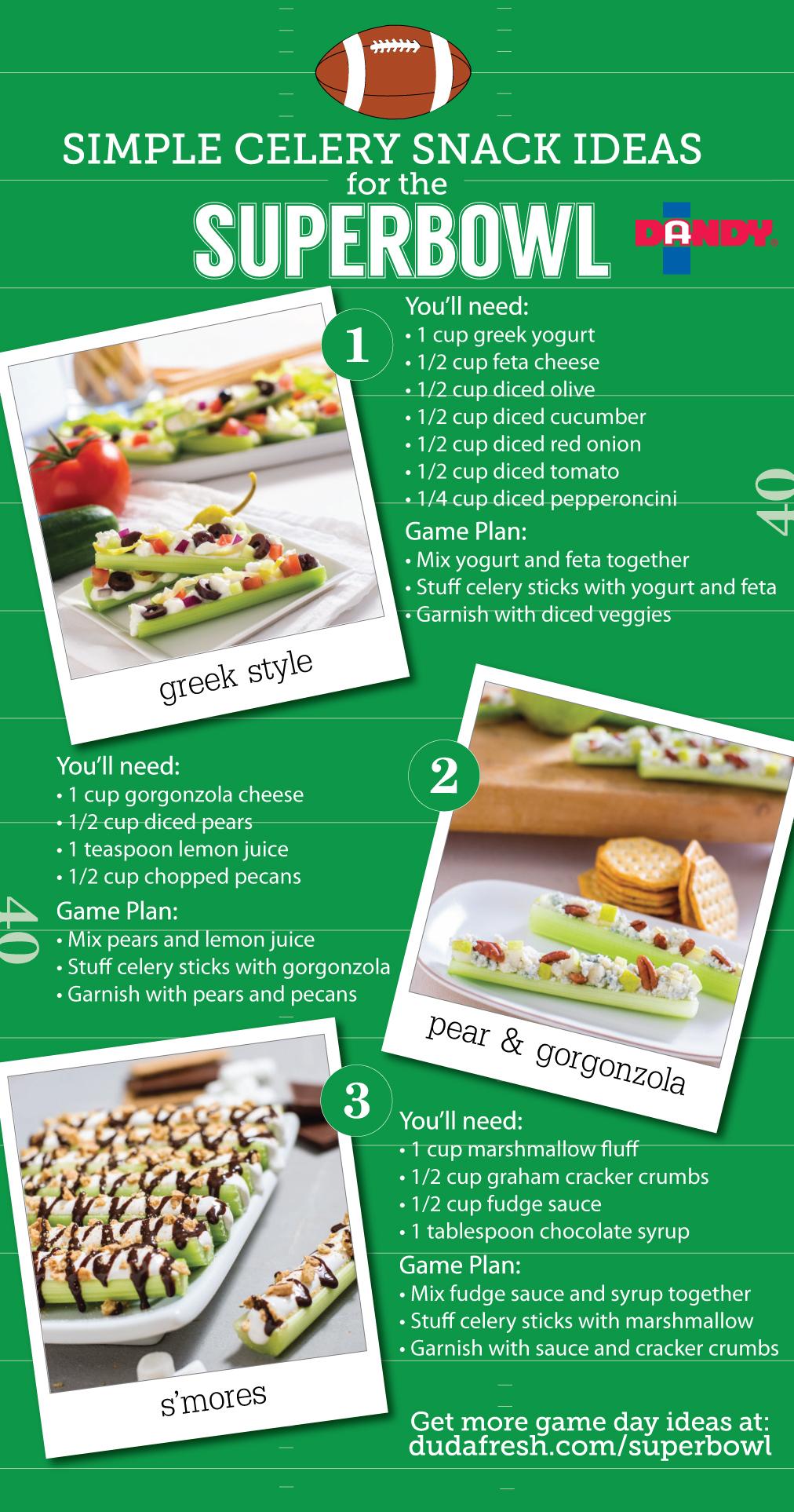 Superbowl Celery Snacks,  Duda Farms 2014