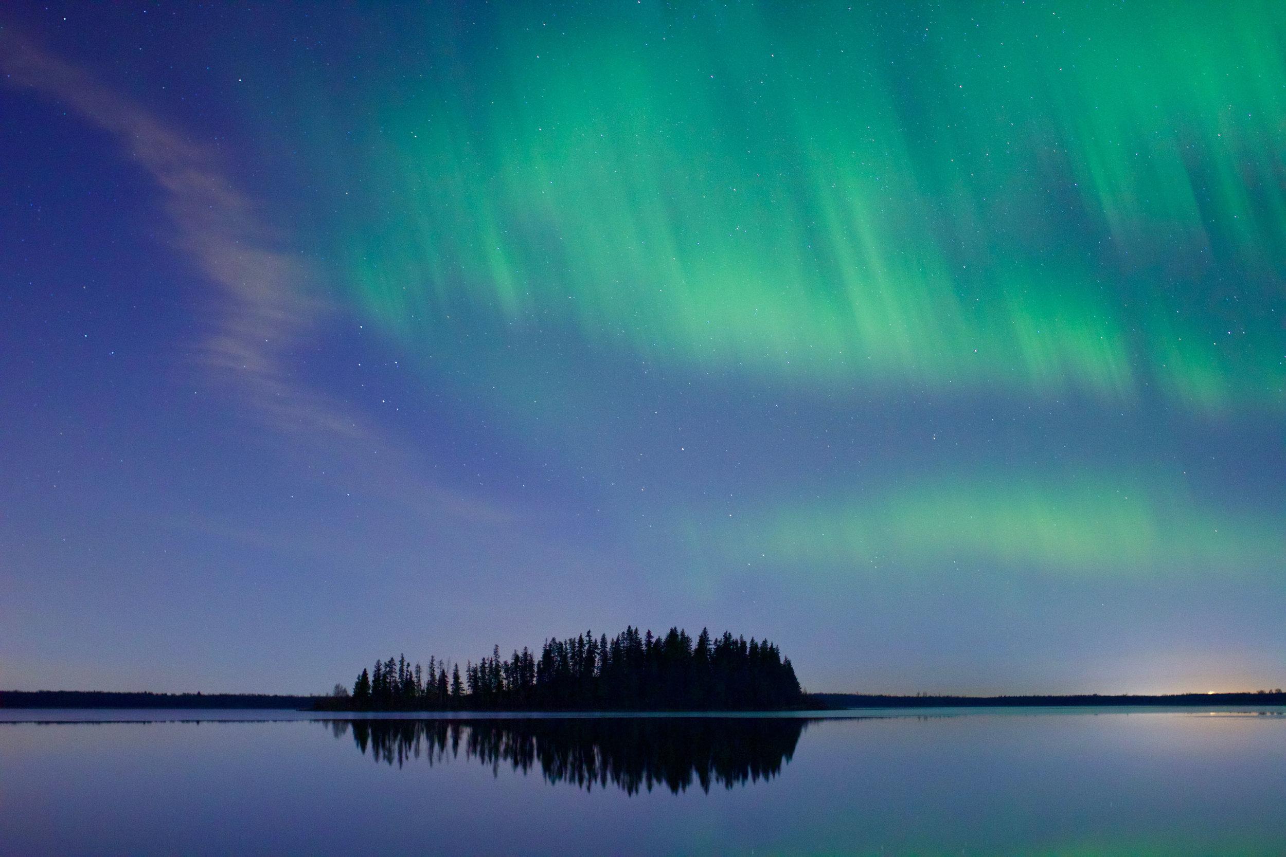 Aurora Borealis Northern Lights Astotin Lake Elk Island National Park Voyage Collective Randal Smith